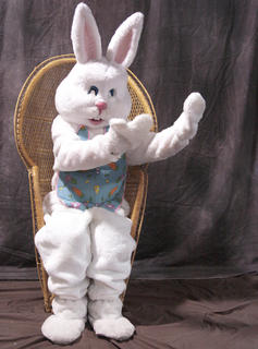 The Easter Bunny invites a friend to join him for a photo.