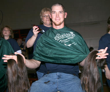 Anthony Green started the day with hair that was 18 inches long. In addition to shaving his head for St. Baldrick's, he was also able to donate four ponytails to Locks of Love, which makes wigs for children who have lost their hair to cancer or for other reasons.