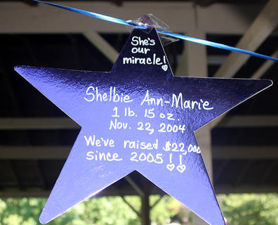 Several purple stars were hanging in the park's pavilion in honor of past and present premature babies.