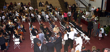 "Inside, hundreds of people attended Bell's ""Home Going Celebration."""