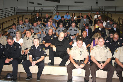 Officers from around the area attended the funeral as a show of their respect for Bell.