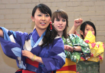 Students from Campbellsville University Connected Cultures perform Yosakoi dancing.