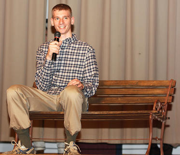 Criag O'Daniel performs an original Forrest Gump monologue during the talent competition.