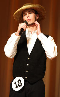 """Nic Courtwright performs """"Amish Paradise"""" during the talent competition."""