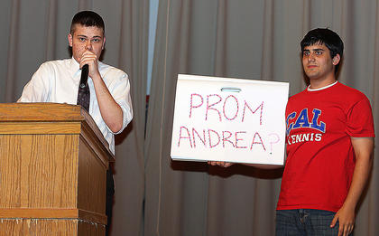 """Tyler Hunt uses his time during the talent competition to ask """"Andrea"""" to the prom. She reportedly said yes."""