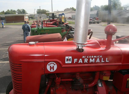Antique tractors filled the parking lot of the David R. Hourigan Government Center.