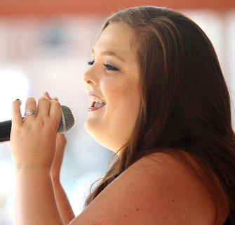 Ann Courtney Thomas performs at the Marion County Country Ham Days Festival on Sunday afternoon.