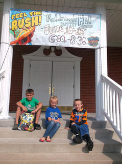 Pictured are Jacob, Jelsie and Joshua Benningfield at Muldraugh Hill Baptist Church's Vacation Bible School.