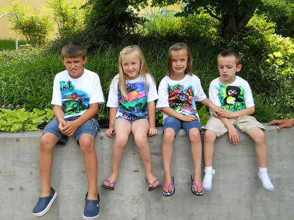 Pictured are Jacob Benningfield, 10, Jelsie Benningfield, 7, Marissa McCubbin, 6, and Joshua Benningfield, 7. This photo was taken outside Ripley's Aquarium of the Smokies in Gatlinburg, Tenn.