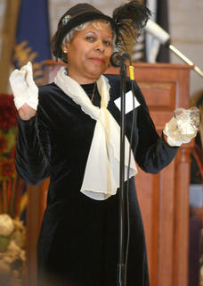 Therese Calhoun portrays Harriet Tubman during Sunday's black history celebration.