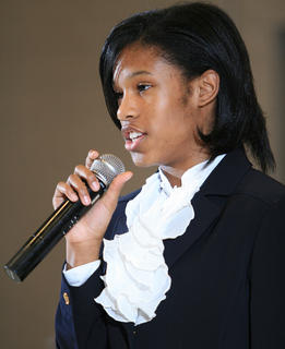J'Anna Jones, 13, of Elizabethtown returned toward the end of the program to recite a poem about the benefits a female President could bring to the White House.