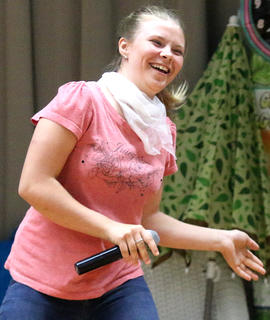 Smiling big, Jamie Zearing dances during her portion of the talent show.