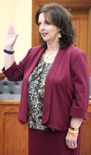 Marion County Attorney Lisa Nally-Martin is sworn in.