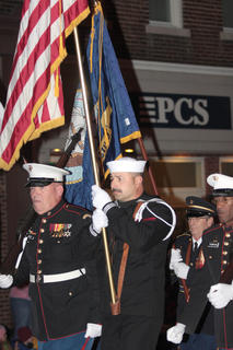The Marion County Veterans Honor Guard carry the U.S. flag at the front of the parade.