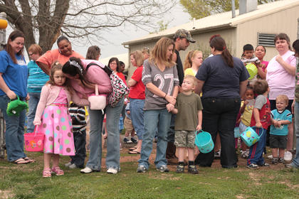 Children and their families gather for the start of the Easter Egg Hunt on April 9 at Graham Memorial Park.