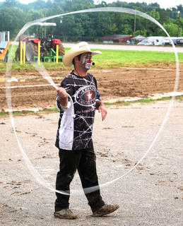 Rodeo clown Austin Stewart showed off his rope skills for the crowd.