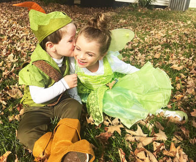 Wyatt Cox and Serenity Cox as Peter Pan and Tinkerbell on Halloween last year.