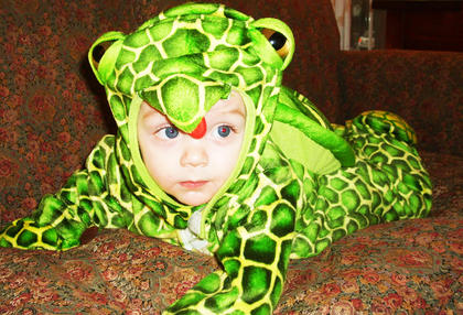 Greyson Rucker dressed as an adorable frog during Halloween in 2009. He was six months old.