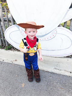 Noah Thomas, age 23 months, enjoys trick or treating during Boo at the Zoo in Louisville.