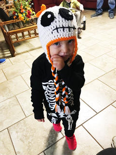 Eleanor Truitt dressed as a cute skeleton for Halloween last year.