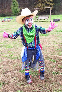 Andy Cox dressed as a Rodeo Clown for Halloween in 2015.