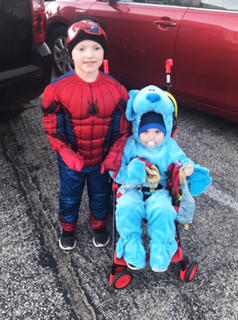 Owen Thompson, 4, and Wyatt Thompson, 2, dress as Spider Man and Blues Clues for this year's Halloween festivities.