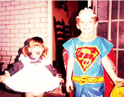 Pictured is Amy Corder Bland as Raggedy Ann and Charlie Corder as Superman in 1985.
