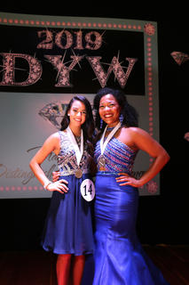 Kelly Miles, left, is pictured with 2018 Marion County Distinguished Young Woman Leah Hazelwood.