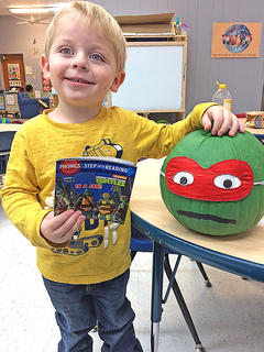 Jacob Hill - Ninja Turtles In a Jam  Preschool students in Amanda Whitlock and Laura Bell's class made character pumpkins from their favorite book for their October Family Project.
