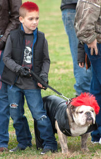 Can you see the resemblance? Jack Wheatley and the punk pooch competed in the owner/dog lookalike contest.