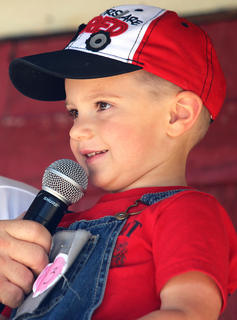 Jake Wright competes in the Junior Farmer competition at the Marion County Country Ham Days Festival on Saturday morning.