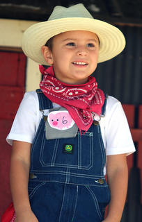 Drew Mudd competes in the Junior Farmer competition at the Marion County Country Ham Days Festival on Saturday morning.