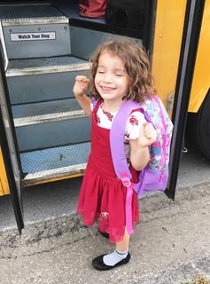 Kaia Jackson was so ecstatic about riding the school bus for the first time.