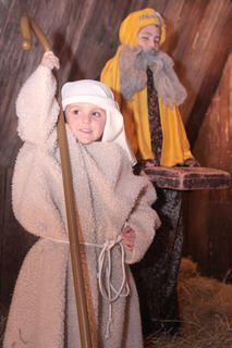Jaxon Huff was all smiles during his time as a shepherd. Cody Hood, in the background, was one of the wise men.