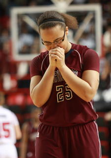 After missing a three-pointer in the closing minutes of the game, Makayla Epps takes a moment to herself.