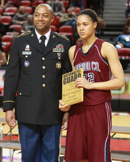 Kyvin Goodin-Rogers received the Best and Brightest Award from the Kentucky National Guard after the tournament.