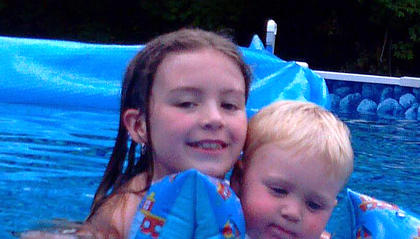 Jade Elder and her brother, Dean Morgeson, enjoy summer at Mamaw and Papaw's pool.