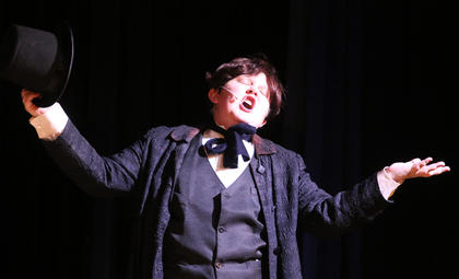 Cody Ballard enthusiastically plays the part of Mr. Sowerberry.