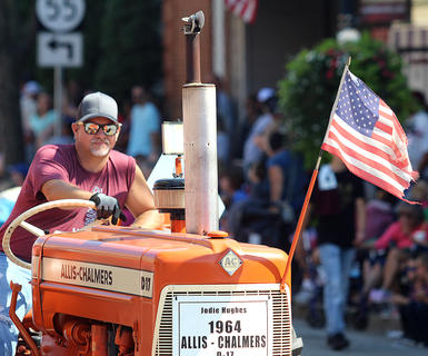 One of the many tractors in the Pigasus Parade Saturday afternoon.