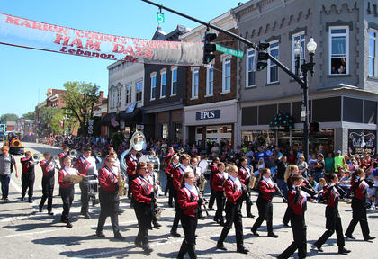 The Marion County High School Marching Knights perform in the Pigasus Parade on Saturday afternoon.
