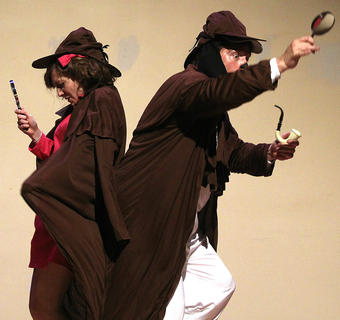 Gaubrielle Humphress (Sally Brown), left, and G.B. Dixon (Snoopy) pretend they are detectives searching for rabbits.