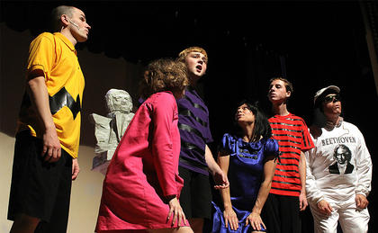 """From left, Wesley Marlowe (Charlie Brown), Gaubrielle Humphress (Sally Brown), Brandon Curtsinger (Schroeder) Stevie Lowery (Lucy Van Pelt), Chance Hovious (Linus) and G.B. Dixon (Snoopy) sing about Schroeder's favorite made up holiday """"Beethoven Day."""""""