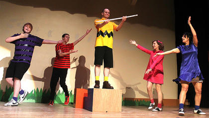 From left, Brandon Curtsinger (Schroeder), Chance Hovious (Linus), Wesley Marlowe (Charlie Brown), Gaubrielle Humphress (Sally Brown) and Stevie Lowery (Lucy Van Pelt) perform the opening number.