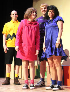 From left, Wesley Marlowe (Charlie Brown), Gaubrielle Humphress (Sally Brown), Brandon Curtsinger (Schroeder) and Stevie Lowery (Lucy Van Pelt) tease Linus about his silly little blanket.