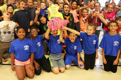 Glasscock Elementary School's 5th grade team won the 2018 Pig Pen Relay on Sept. 24. The team members are, front row from left, Aliyah Andrade, CorNya Hilliard, Lucas Johnson, Johnathan Sullivan, Rialee Boyd and Elijah Washington proudly holding up their trophy.