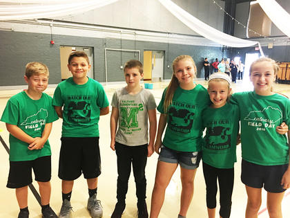 The Calvary Elementary 2018 Pig Pen Relay are all smiles before the big race. From left: Christian Rucker, Noah spalding, Tristan Williams, Jamie Zearing, Kaylee Wright, and Kinzlee Ford. Photo courtesy of CES.