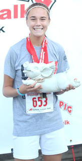 Madi Hardin was the overall female winner of the Pokey Pig 5K on Saturday at Ham Days. Her time was 21:56.