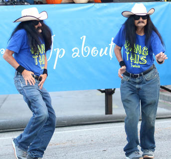 "The ""Bang This"" Twins from Nashville, Tennessee bust some moves during the Pokey Pig race on Saturday at Ham Days. The duo said they came to Ham Days to see American Idol star Layla Spring perform."