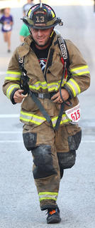 Gary Wilkerson ran the Pokey Pig 5K in his full fireman's gear
