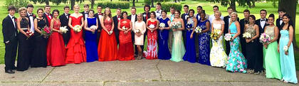A group of MCHS students pose for a photo at the Lebanon Country Club during their pre-prom dinner.